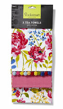 Cooksmart Floral Romance Tea Towels Pack of 3 Drying Cloth Kitchen Flower New