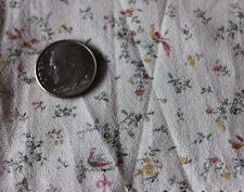 French Antique Tiny Doll Scale Printed Cotton Bird & Floral Textile Fabric c1860
