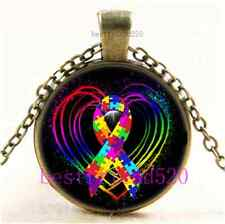 Vintage Autism Ribbon on Heart Cabochon Glass Bronze Chain Pendant Necklace