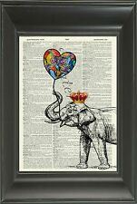 Original-Elephant & Globo de impresión de arte en Vintage Diccionario Libro página 512df