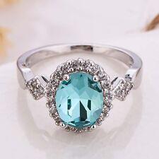 Women Chic Oval Cut Aquamarine Gemstone 925 Silver Wedding Ring Jewlery Size 9