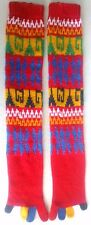 Pair of Retro 1970s-80s FiveFinger Knee High Socks,Mod,Multi-Color,UnisexKnitted