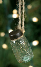 Mini Mason Jar Hanging Ornament - Primitive Christmas Tree Ornament