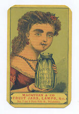 ORIGINAL ULTRA RARE MACQUEEN & CO. MASON'S FRUIT JAR AD CARD PHILADELPHIA, PA.