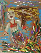 Original Sea  MERMAID Naive Folk Outsider Self taught Mary Carol art MCW