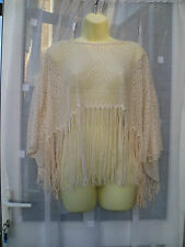 TOPSHOP CREAM LACEY FRINGED CAPELET / PONCHO SZ S / M / FESTIVAL / ARM COVER UP