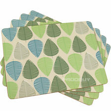 Set of 8 Beige Blue & Green Leaf Dining Table Placemats Tablemats Mats Setting