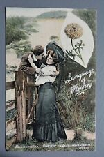 R&L Postcard: Welch Edwardian, Lady & Gent Laguage of Flowers Ranunculus Romance