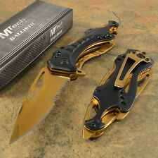 MTech Spring Assisted Open Gold Blade Folding Pocket Knife Switch Black Tactical