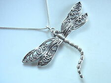 Dragonfly with Rope Style Decorated Wings Necklace 925 Sterling Silver