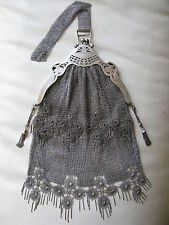 Antique Art Nouveau Figural Pierce Frame Silver T Chain Mail Mesh Tassel Purse