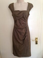 L K Bennett Tina Brown Tweed Wool Dress Fitted Wiggle Lined Uk 8