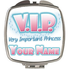 VIP VERY IMPORTANT PRINCESS PERSONALISED LADIES/GIRLS COMPACT MIRROR -NAMED GIFT