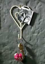 Cream wire work heart single hook with photo or card holder Fair Trade Gift NEW