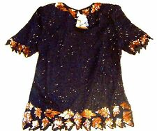 Sz S, PM, M ~ NWT Laurence Kazar 100% Silk Black & Gold Sequined & Beaded Top