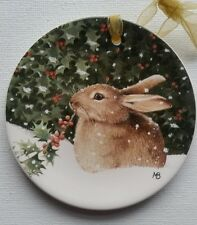 Demdaco Marjolein Bastin Natures Journey  Bunny Christmas Plate Ornament Easter