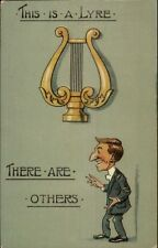 Pun Humor - This is a Lyre/Liar Music Instrument & Sleazy Guy c1910 Postcard