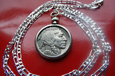 "1937 Buffalo Nickel Coin Bezel Pendant on a 28"" 925 Sterling Silver Chain"