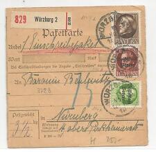 Bayern / Mi.-Nr. 104IIA + 117 + 125A / Paketkarte m. MiF 1 M. + Volksstaat
