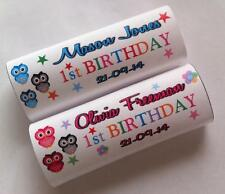 12 x Personalised Wrappers Chocolate Cute Owl Birthday Girl Boy 1st 2nd Child