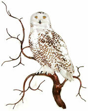 Snowy Owl on Branch Metal Bird Wall Art Decor Sculpture- by Bovano #W8092