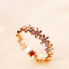 18K  Rose Gold  Crystal Daisy Flower Snowflake Ring