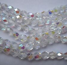 30 crystal  AB Czech FP facet 6mm glass beads