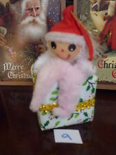VINTAGE CHRISTMAS TREE DECORATION CHENILLE ELF SITTING ON FABRIC PRESENT NO.9
