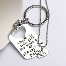 Father's Day Love Heart Daughter Father Letter Keychains + Necklace Set Modish