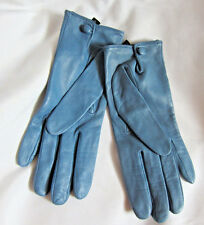 Donna Karan DKNY Gloves Blue Leather Lined Silk sz.7.5 NWOT