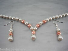 2dr Colour Choice of Pearl and Diamante Necklace & Earrings Set