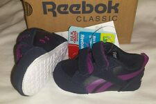 BNWT IN BOX BABY GIRL / BOY NAVY/PURPLE REEBOK CLASSIC TRAINERS, SIZE UK 1.5 INF