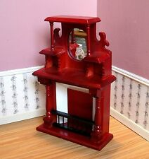 Dollhouse Miniature Furniture ~ Victorian Fireplace Made of Wood ~ Mahogany ~