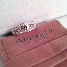 Affinity Diamond Sterling Silver 1/2cttw Baguette/Round Band Ring, s.8