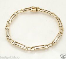 "Mens 8.5"" Solid Designer Railroad Bracelet Real 14K Yellow White Two-Tone Gold"