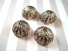 Large Oxidized Silver Brass Filigree Bead Cap Stampings (4) - SOS7426