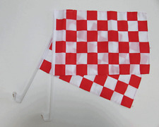 CHECKERED RED AND WHITE CAR WINDOW FLAG - 2 PACK NEW