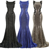 ST Sleeveless Shining Sequins Evening Prom Party Dress Mermaid Formal Bridal New