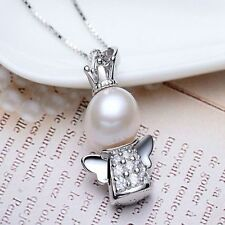Hot Fashion 925 Silver Angel Charm Pearl Pendant Necklace Women Jewelry Chain