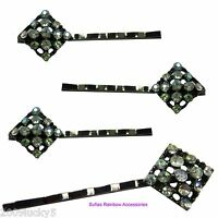 4 x Diamond Kirby Grips Slide Crystal Hair Bridal Wedding Diamante Clips Black