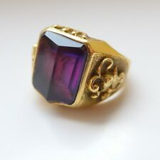 SUBSTANTIAL MENS 18CT HEAVY GOLD SAPPHIRE RING KNIGHT ARMOUR CROWN CAMELOT THEME