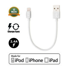 Apple MFI Certified Lightning to USB Cable White/Silver (Short Length 7.5in)