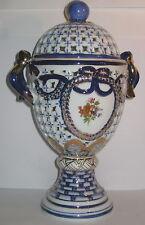 Konfektschale Ei, Porzellan Durchbrüche, Dose in Pokalform mit Deckel, 25cm