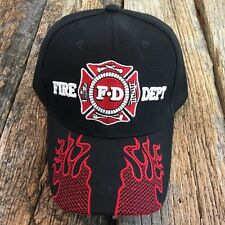 Black Fire Fighter Ed Department Fighters Emblem Embroidered Hat Cap hats -W
