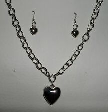 """SILVER PLATED HEART CHARM PENDANT NECKLACE ?& DROP EARRINGS SET 16-18 """""""