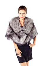 Real Natural Silver Fox Fur Cape Wrap Stole for Women