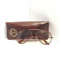 RARE VINTAGE RAYBAN BAUSCH & LOMB LEATHER AVIATOR SUNGLASSES WITH CASE 58[]14