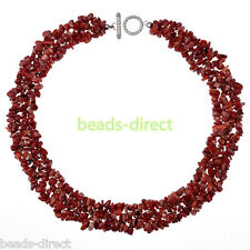 """1 Strand Vintage Natural Dyed Red Coral Gemstone Chips Beads Necklace Gift 18""""L"""