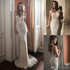 Full Lace Backless Wedding Dresses Sexy Mermaid Illusion Open Back Bridal Gowns