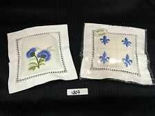 SACHET AIR BAGS WITH HAND EMBROIDERY DAYS FILLED LAVENDER NEW - Lot of 2